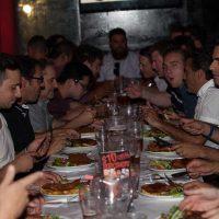 Boys Enjoying Their Schnitzels