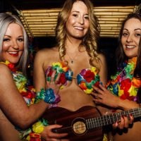 hawaiian themed topless barmaid